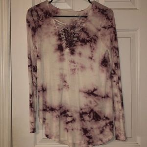Purple and white tie-dyed shirt